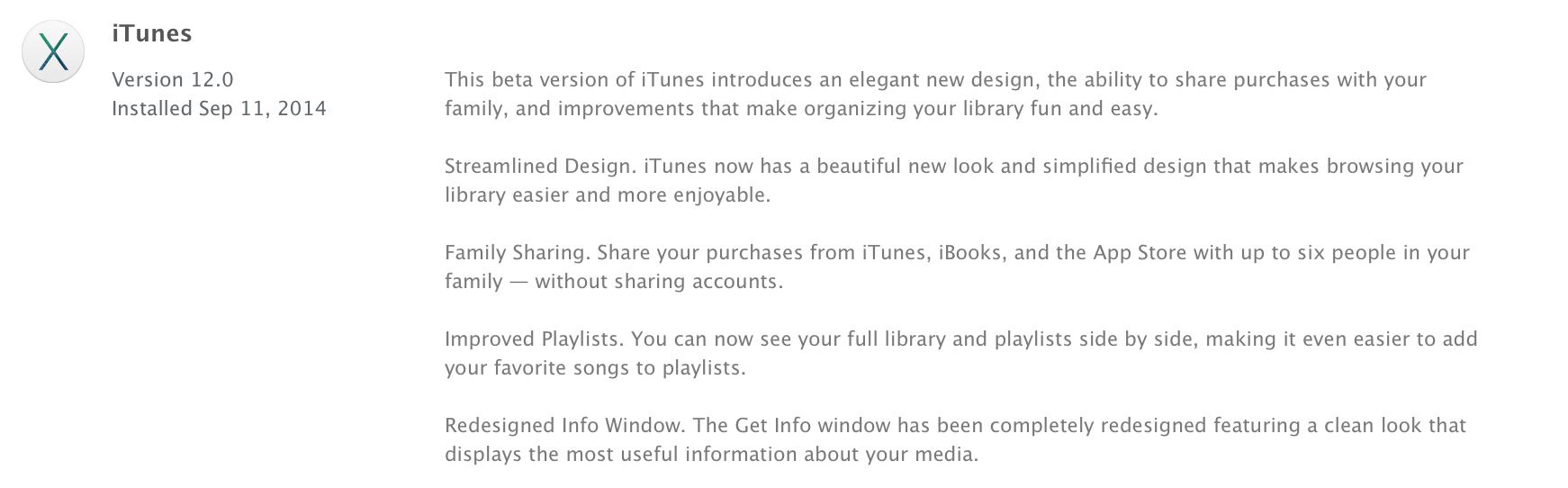 Apple, iOS 8을 대응한 요세미티 용 iTunes 12 업데이트.