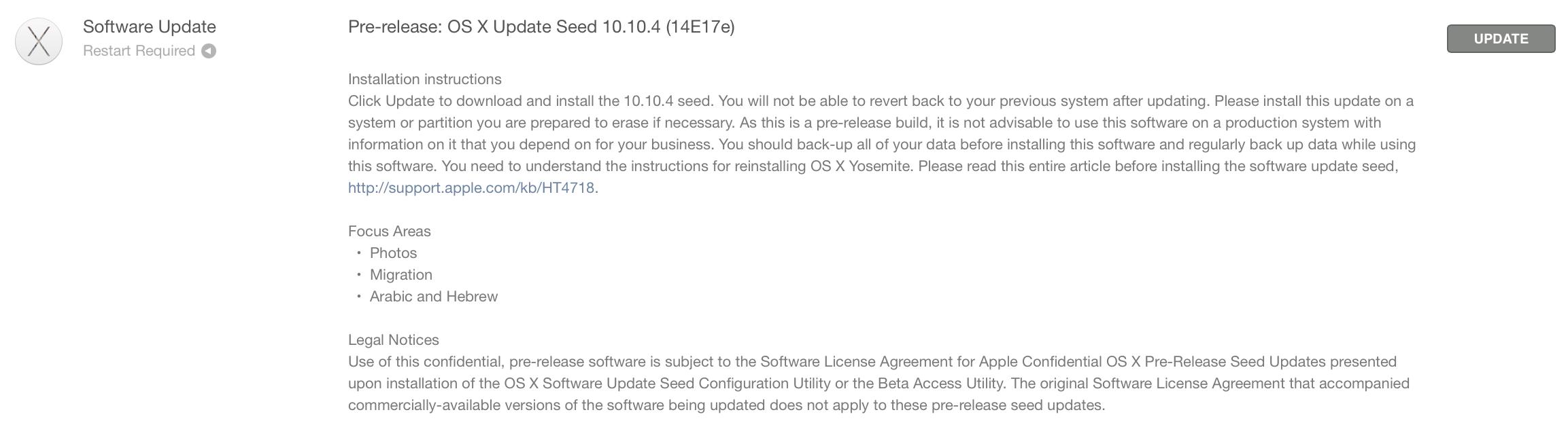 OS X 요세미티 10.10.4 베타 (14E17e) 개발자에 제공.