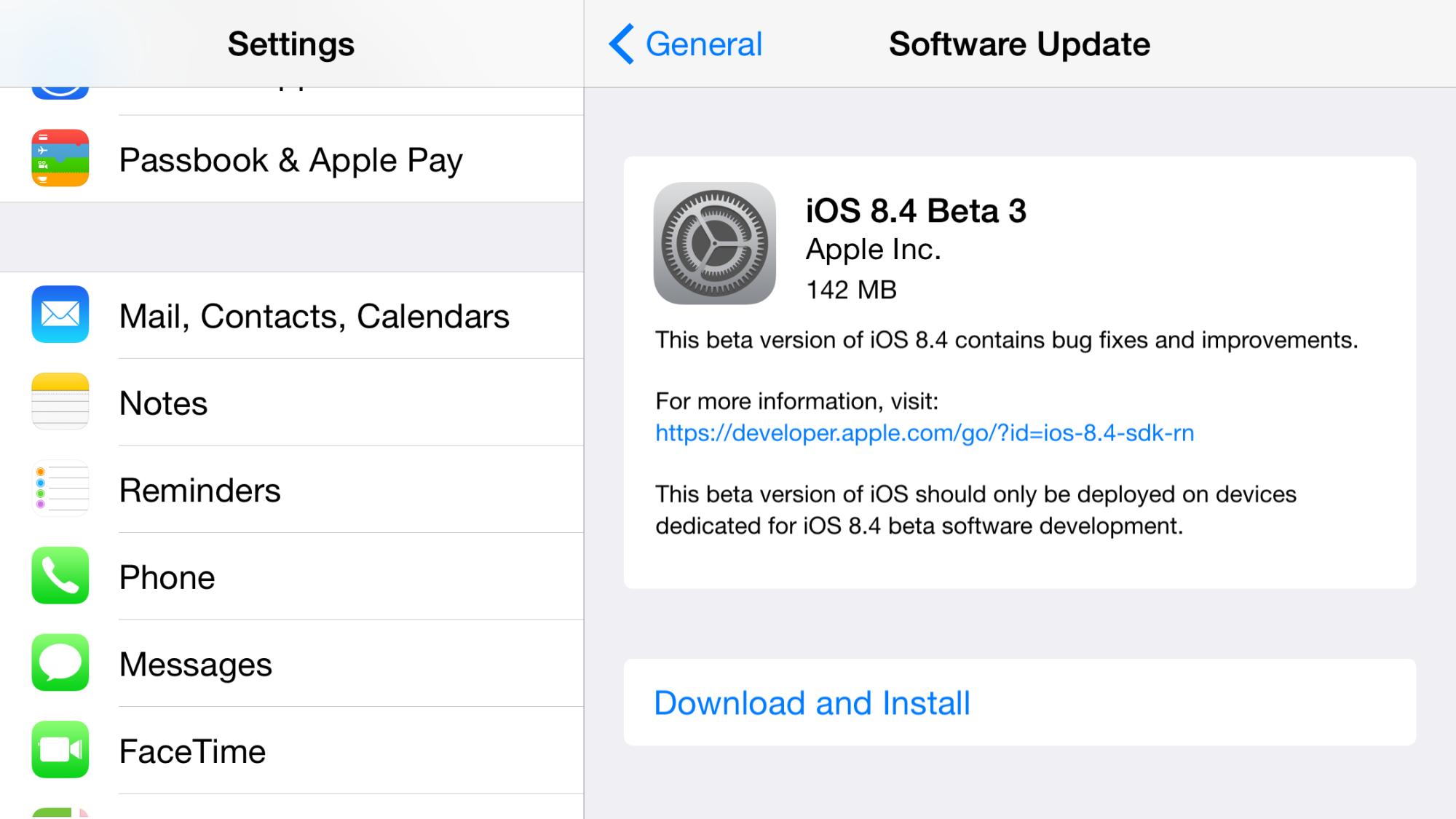 iOS 8.4 베타 3 업데이트 개발자에게 제공.