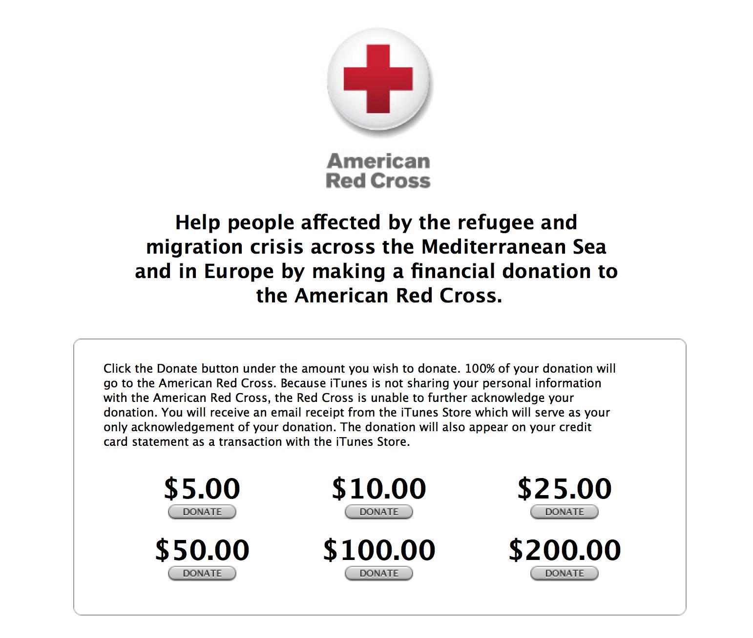 iTunes. 지중해 인근 지역에서 이민 구호 활동 지원을 목적으로 한 기부금 모집을 시작