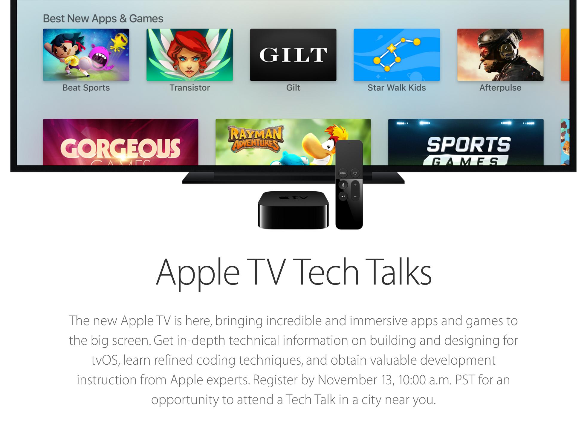 Apple, 개발자를 위한 Apple TV Tech Talks. 세계 10개 도시에서 개최.