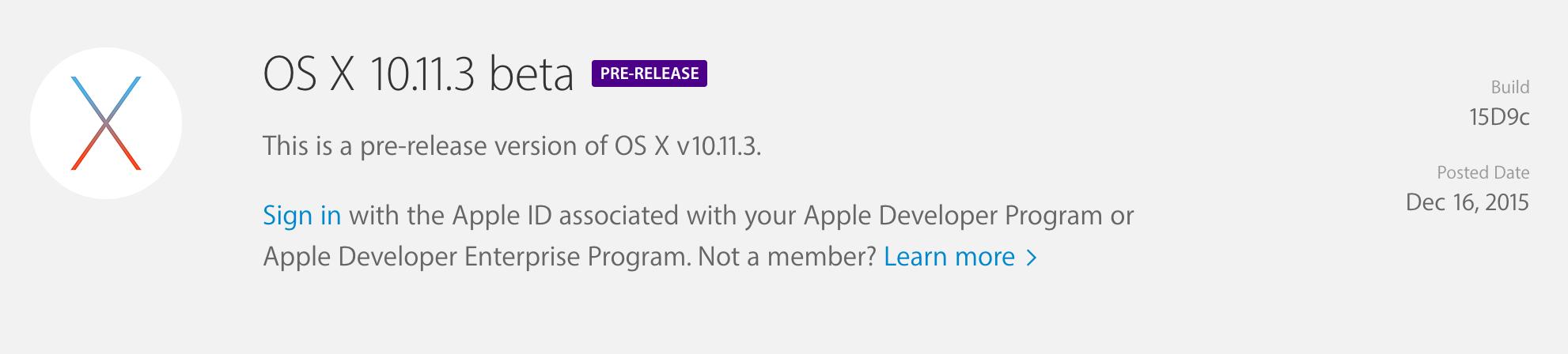 OS X 10.11.3 beta, iOS 9.2.1 beta 업데이트 개발자들에게 공개.