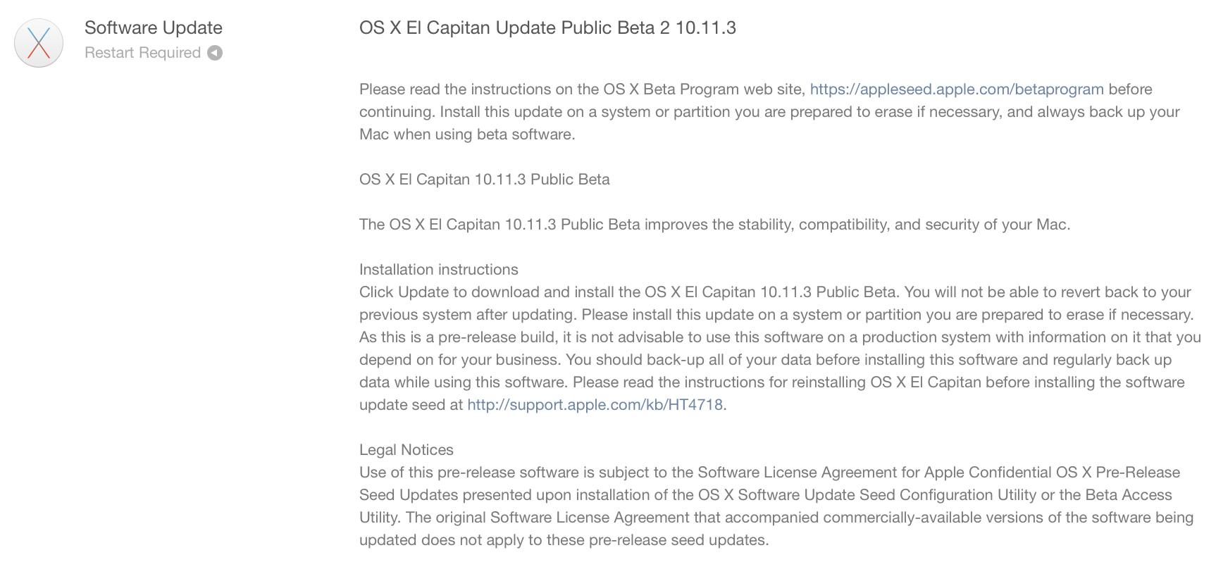 OS X El Capitan 10.11.3 beta 2 업데이트 개발자와 퍼블릭 베타 테스터에 공개.