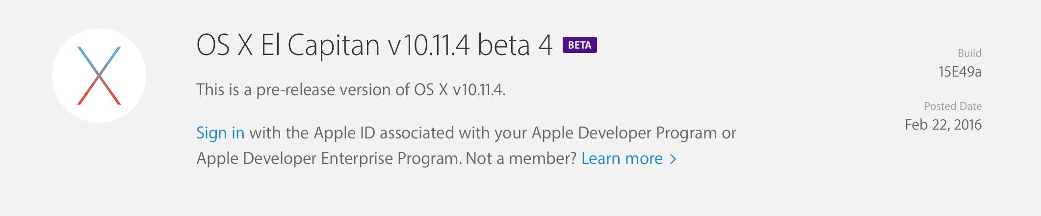 OS X El Capitan v10.11.4 beta 4 개발자에게 공개.
