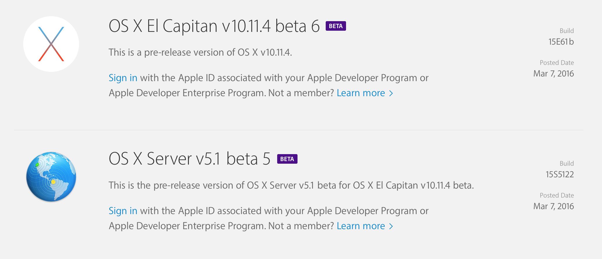 OS X El Capitan v10.11.4 beta 6 개발자와 테스터들에게 공개.