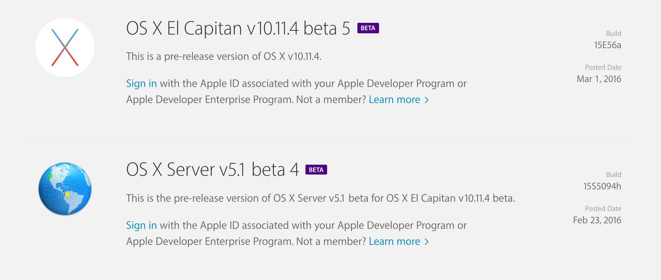 OS X El Capitan v10.11.4 beta 5 개발자와 테스터들에게 공개.
