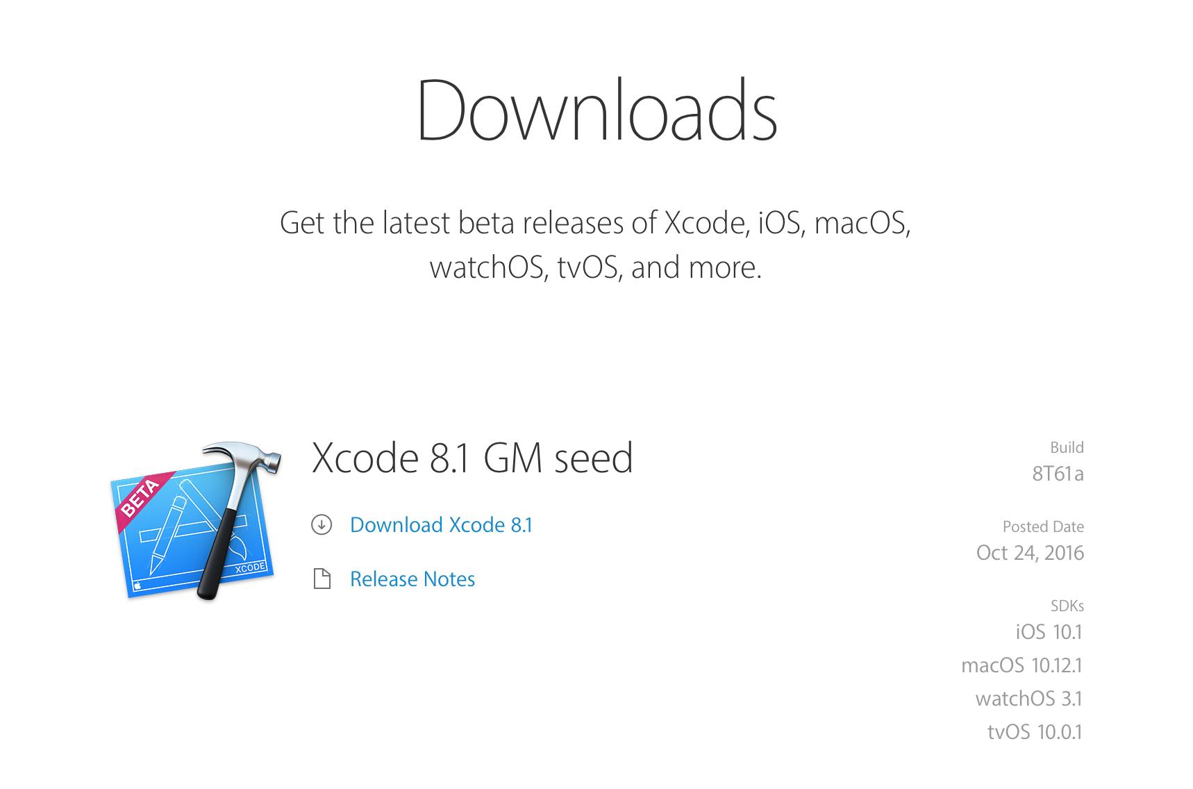 Xcode 8.1 GM seed 개발자 공개