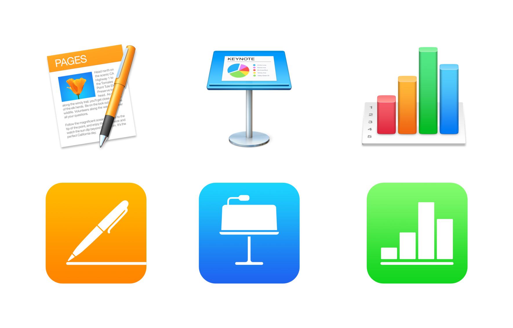 Pages, Numbers, Keynote – iOS, macOS 버전 업데이트